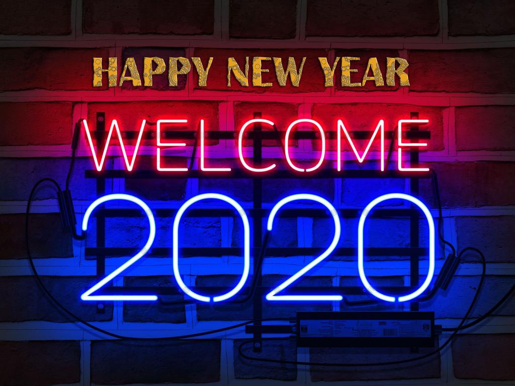 Happy New Year 2020, обои на айфон новый год, 3840 на 2880 пикселей
