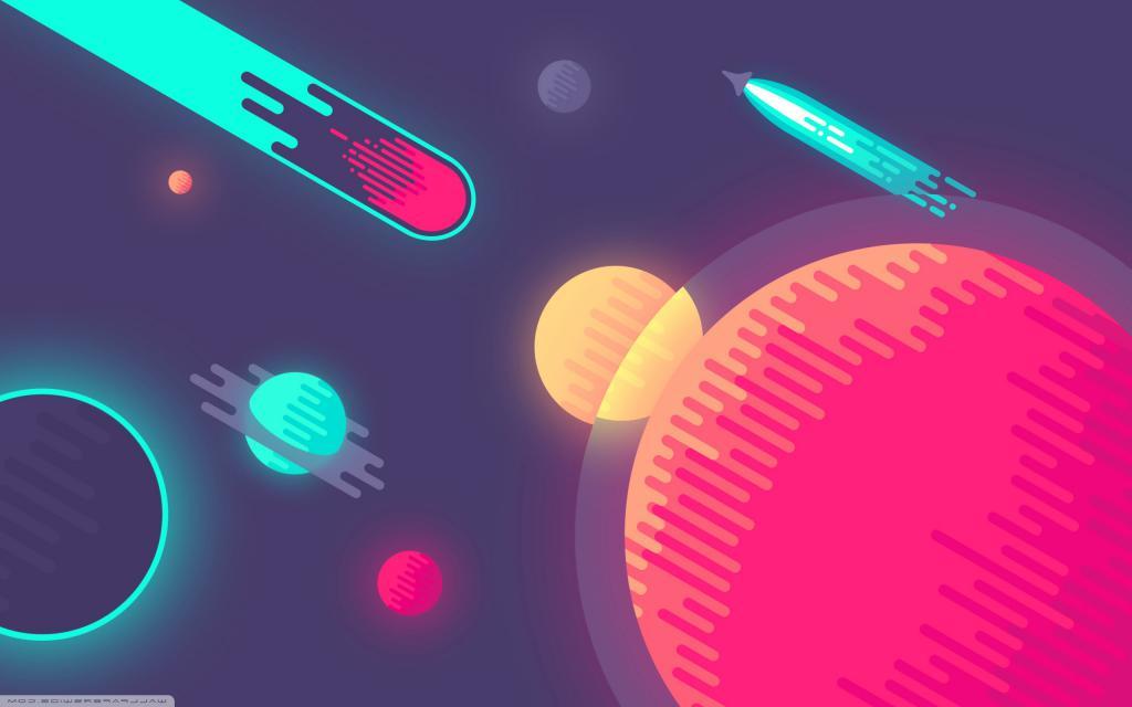 Векторная космическая иллюстрация, обои минимализм космос, 2560 на 1600 пикселей