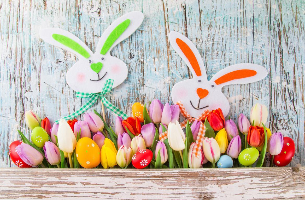 Зайцы, тюльпаны и крашенные яйца, 3840 на 2524 пикселей