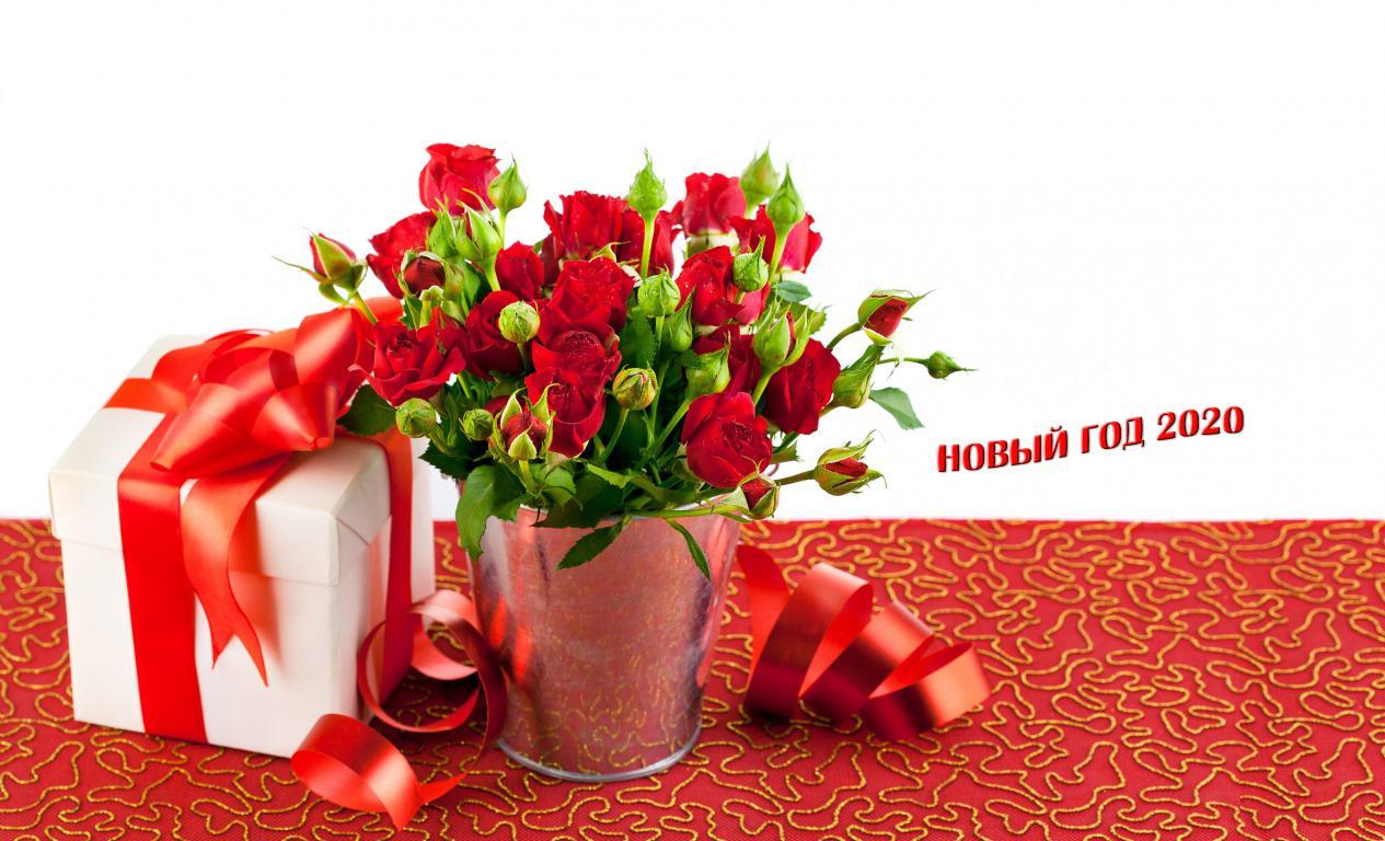 Новогодний подарок с розами, красивые обои нового года 2020, 3840 на 2330 пикселей