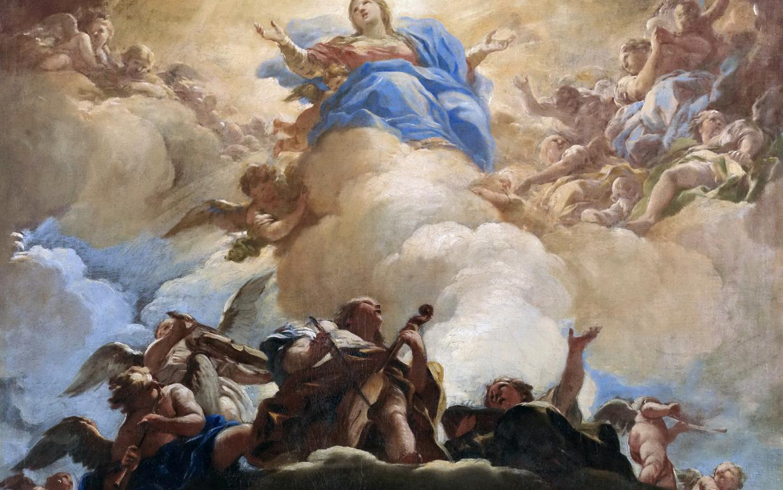 Вознесение Девы Марии, картина Лука Джордано, искусство, живопись, 1920 на 1200 пикселей