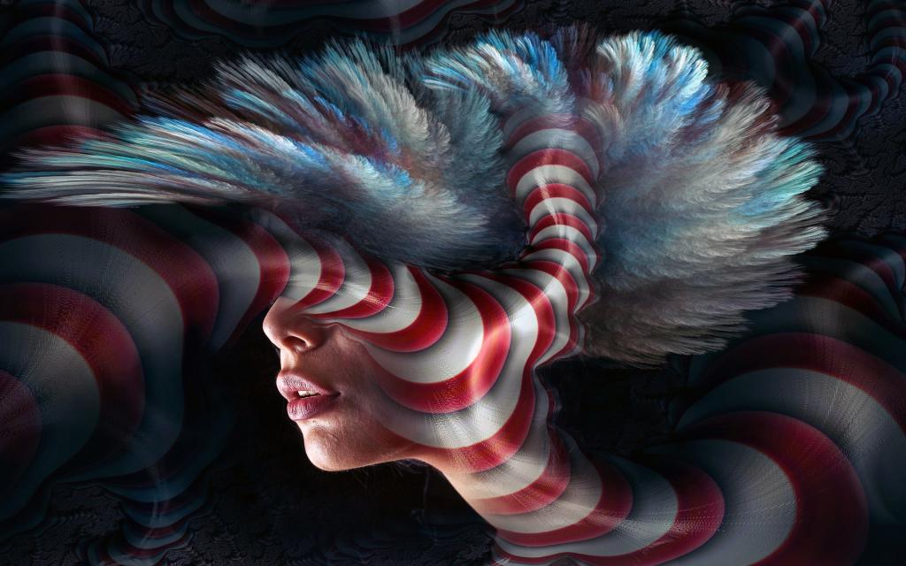 Фантастический сюрреалистический портрет в 3d, 2560 на 1600 пикселей