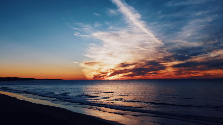 Обои на телефон закат на море у берега, 5120 на 2880 пикселей