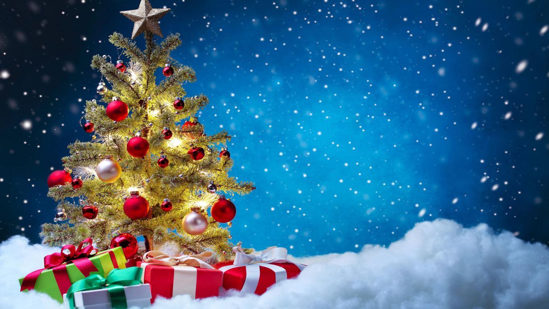 Новогодняя елка, подарки под елкой, Новый Год 2021, 5000 на 2813 пикселей