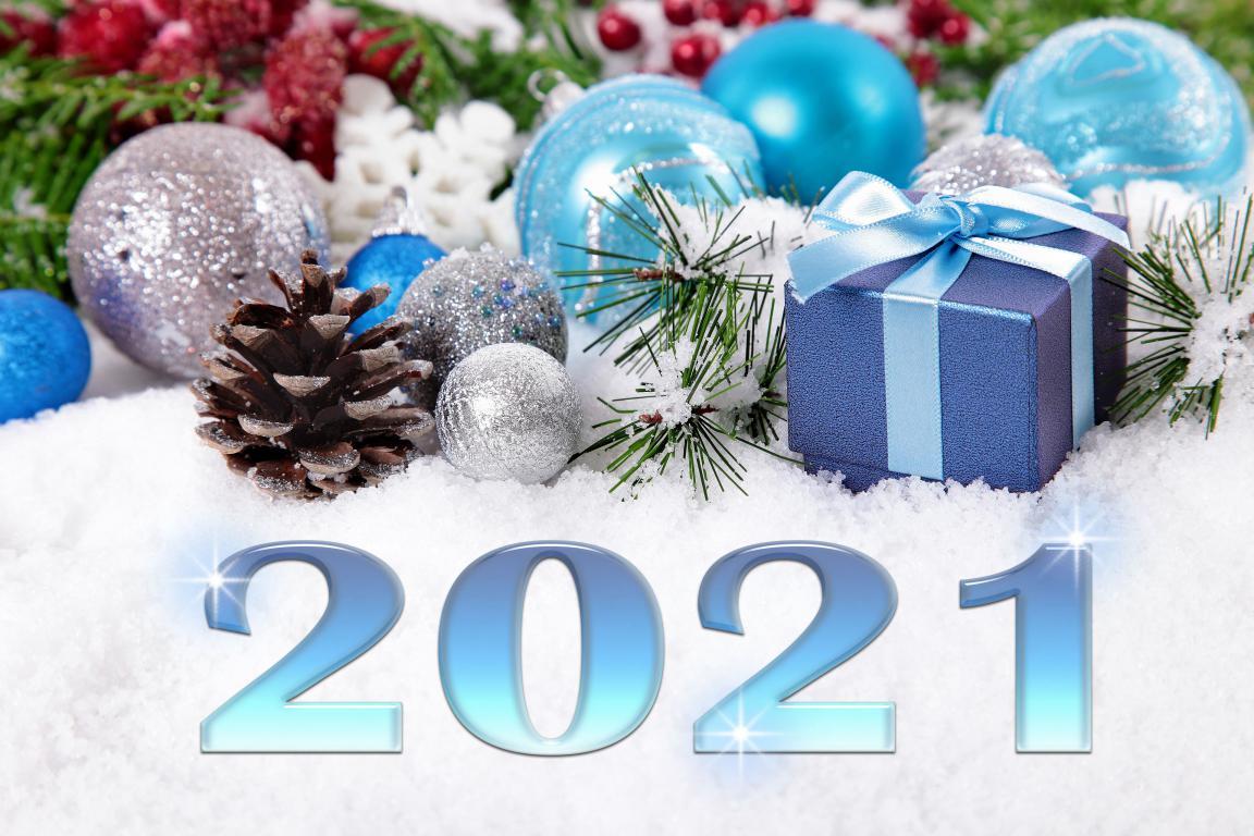 Новогодние игрушки, цифры 2021, Новый год, 3840 на 2560 пикселей