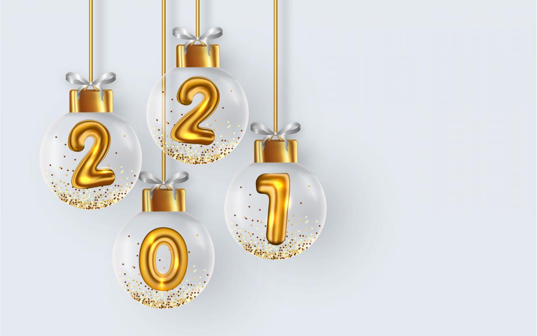 Новогодние шарики с цифрами 2021 внутри, Новый Год 2021, 2560 на 1600 пикселей