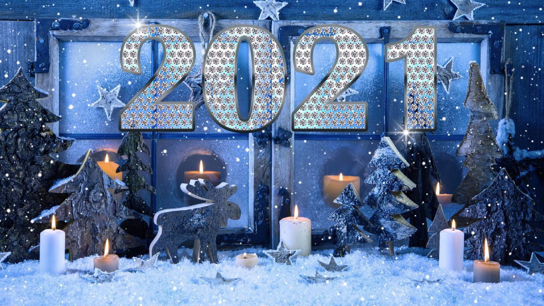 Новогодний декор к Новому 2021 году, обои про Новый год 2021, 3840 на 2160 пикселей