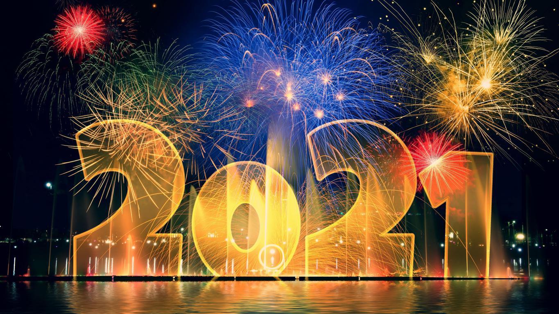Салют на Новый Год 2021, Новогодние обои, 3840 на 2160 пикселей