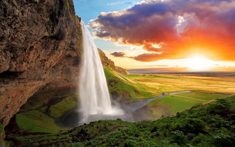 Обои на телефон природа водопад Сельяландсфосс в Исландии, 3840 на 2400 пикселей