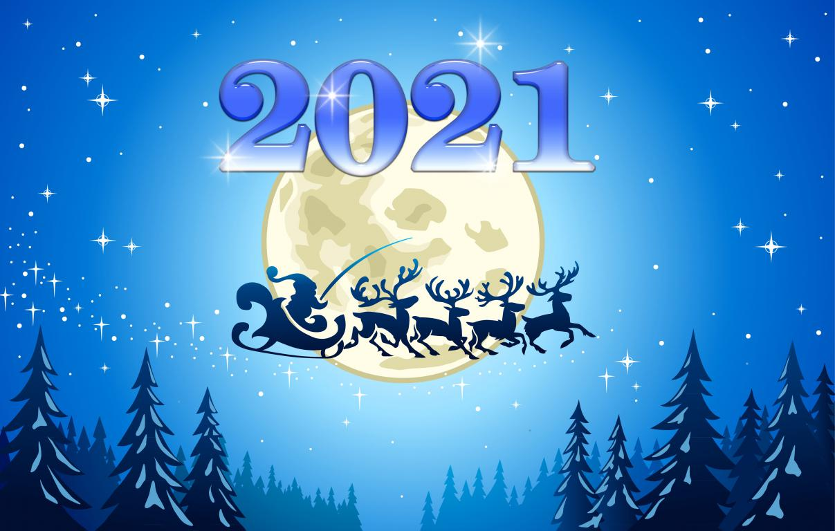 Санта Клаус, олени в небе, обои на телефон зима Новый Год 2021, 5000 на 3181 пикселей