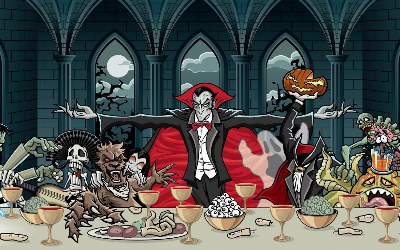 Граф Дракула в компании монстров, хэллоуин обои на андроид, монстры, 2560 на 1600 пикселей