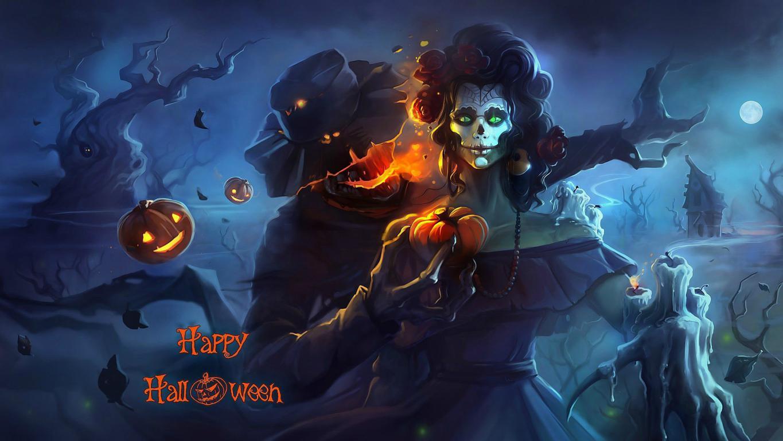Зомби женщина с тыквой, обои на тему хэллоуин, 1920 на 1080 пикселей