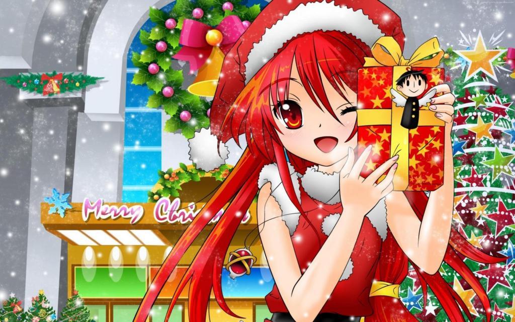 Девушка аниме 4k с подарком, скачать хентай обои на рабочий стол, 3840 на 2400 пикселей