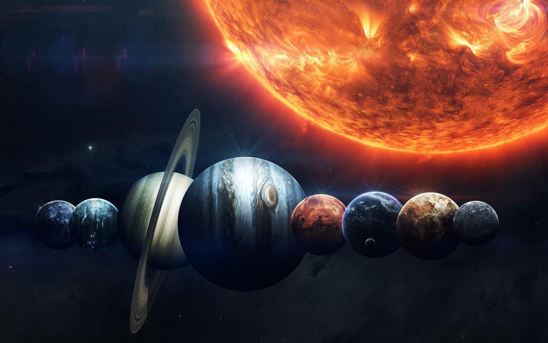 Парад планет Солнечной системы, скачать обои тема космос, 1920 на 1200 пикселей