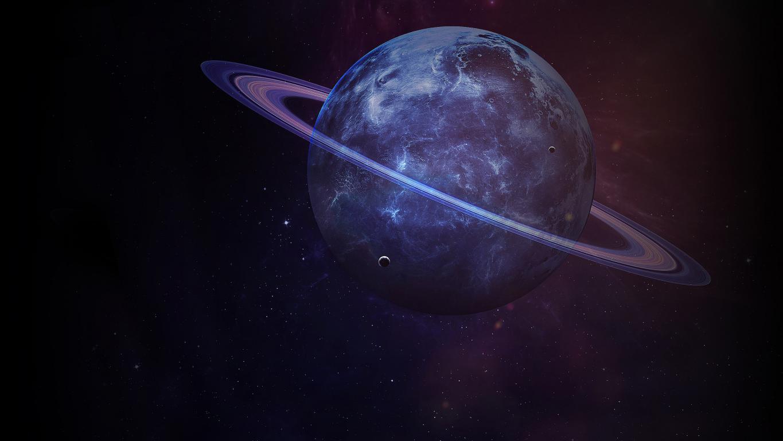 Сатурн с кольцами - большая планета солнечной системы, 2560 на 1440 пикселей