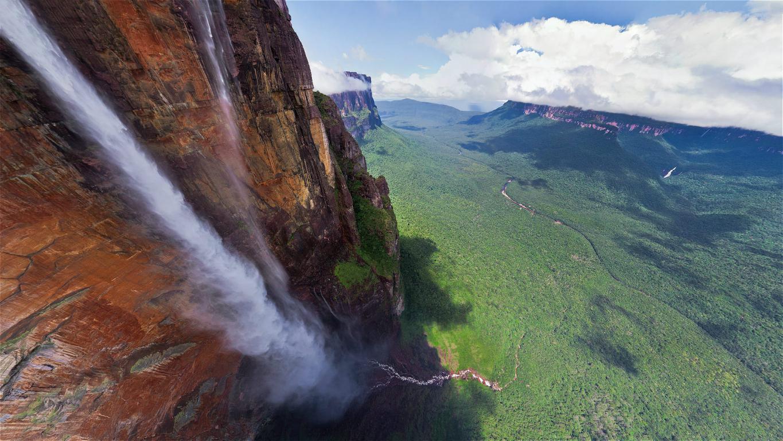 Самый большой водопад в мире Анхель в Венесуэле, full hd, 1920 на 1080 пикселей