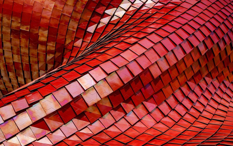 Абстрактная архитектура в красных тонах, 1920 на 1200 пикселей