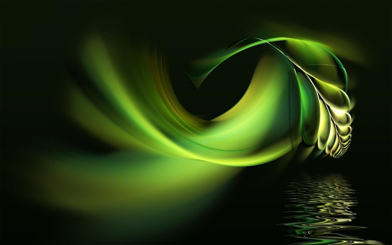 Зелёная абстракция на черном фоне, abstract wallpaper green, 1920 на 1200 пикселей