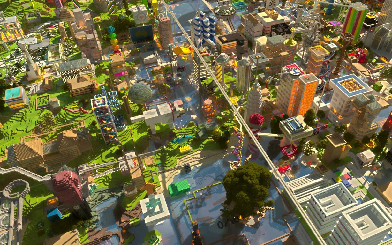 Город minecraft, 1920 на 1200 пикселей