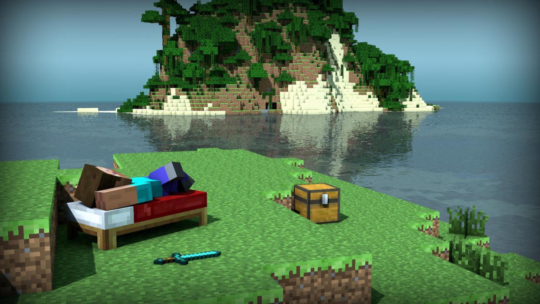 Майнкрафт Стив отдыхает на маленьком острове, 1920 на 1080 пикселей