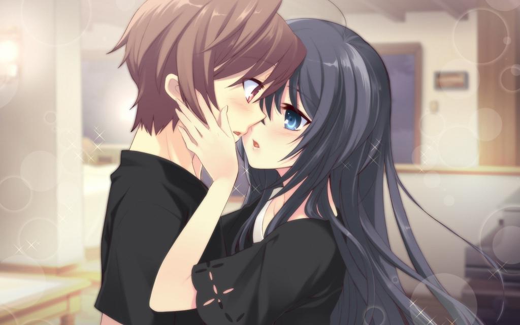 Парень и девушка нежно целуются, аниме обои на ноутбук, 1920 на 1200 пикселей