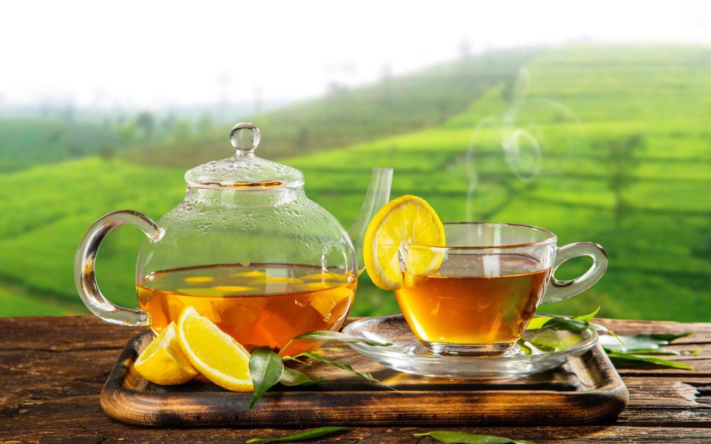 полезные напитки картинки, зеленый чай, лимон, поднос, 2560 на 1600 пикселей