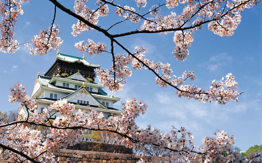 Дворец в Японии весной, фото природы для заставки, 1920 на 1200 пикселей
