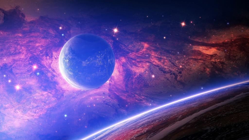 Яркая планета в космосе, обои на айфон 5 космос, галактика, 1920 на 1080 пикселей