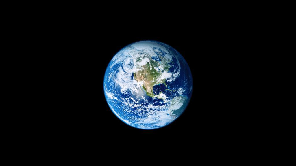 Планета Земля в черном космосе, космос обои 4к, 3840 на 2160 пикселей