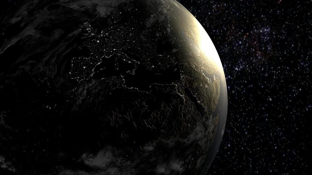 Тёмная сторона Земли, скачать hd обои космос, 1920 на 1080 пикселей