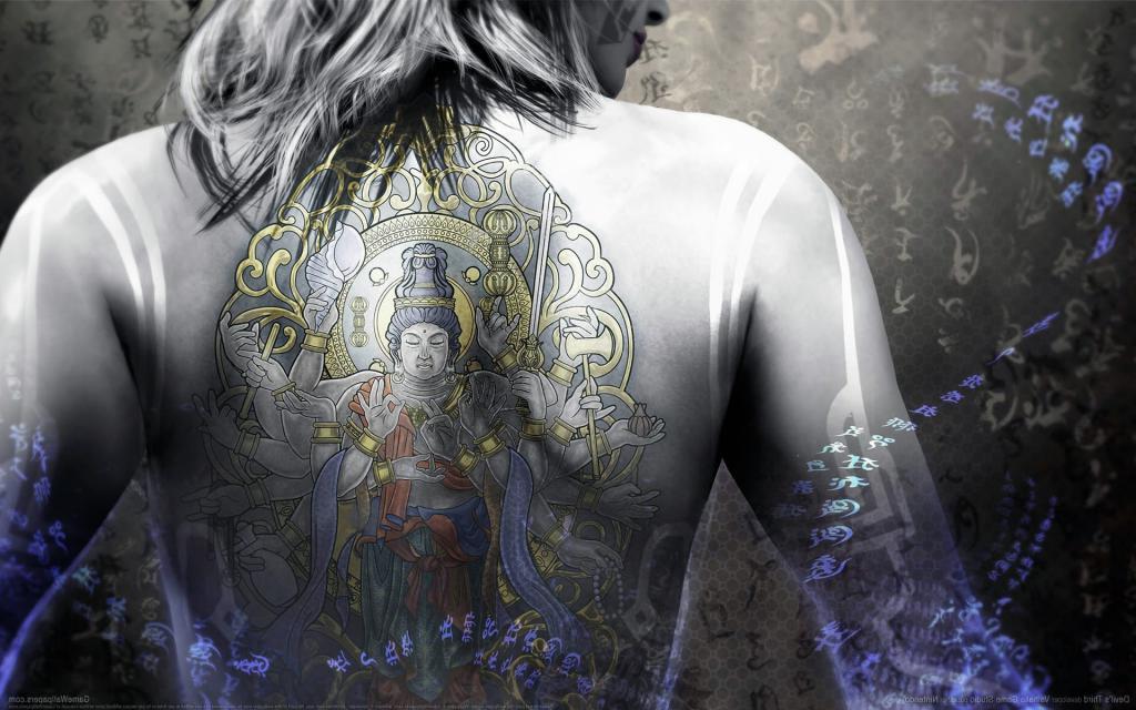 Девушка с тату Будды, женские татуировки на спине фото, 1920 на 1200 пикселей