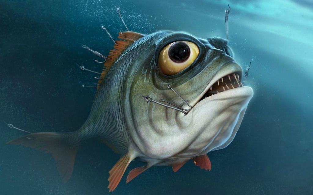 Зубастая рыба на крючке, 1920 на 1200 пикселей