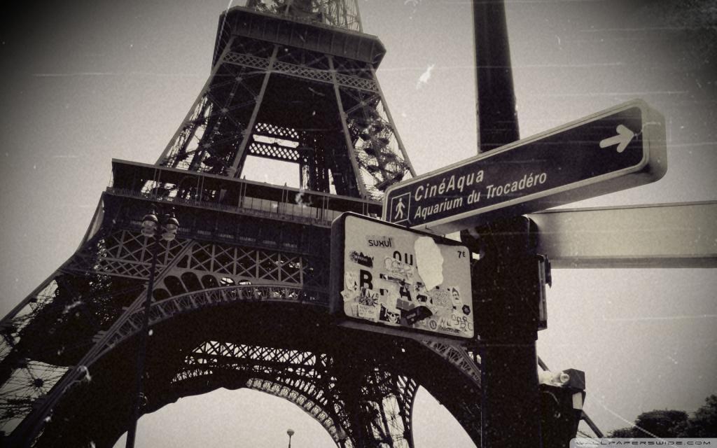 Эйфелева башня черно белое фото, Eiffel Tower, 1920 на 1200 пикселей