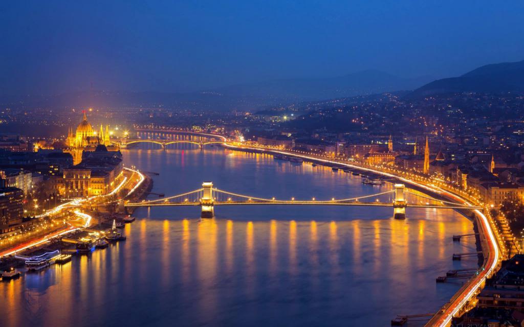 Будапешт - Венгрия, ночной город, 1920 на 1200 пикселей