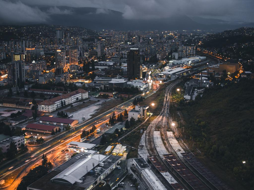 Ночной город вид сверху, 4608 на 3456 пикселей